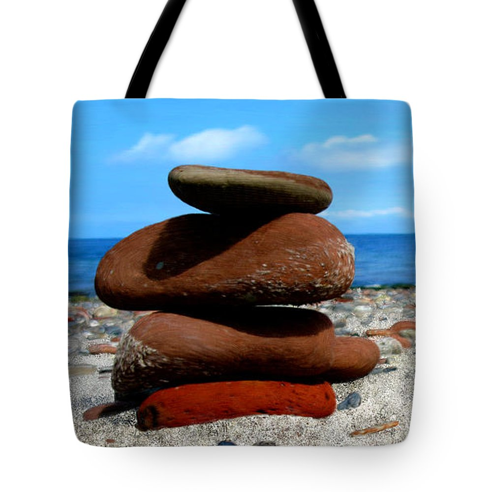 Ocean Tote Bag featuring the painting Rocks On The Beach by Bruce Nutting