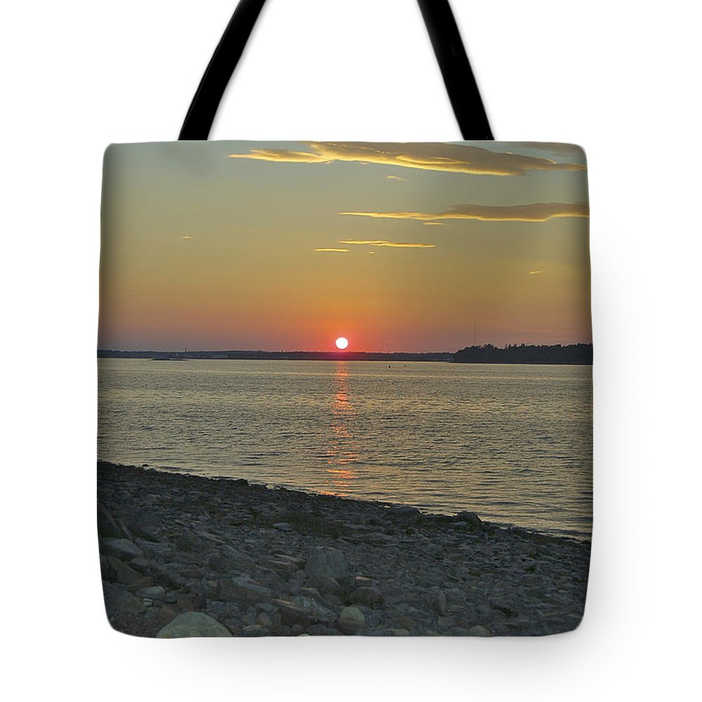Rock Tote Bag featuring the photograph Rocks Watch The Sunset by Faith Harron Boudreau