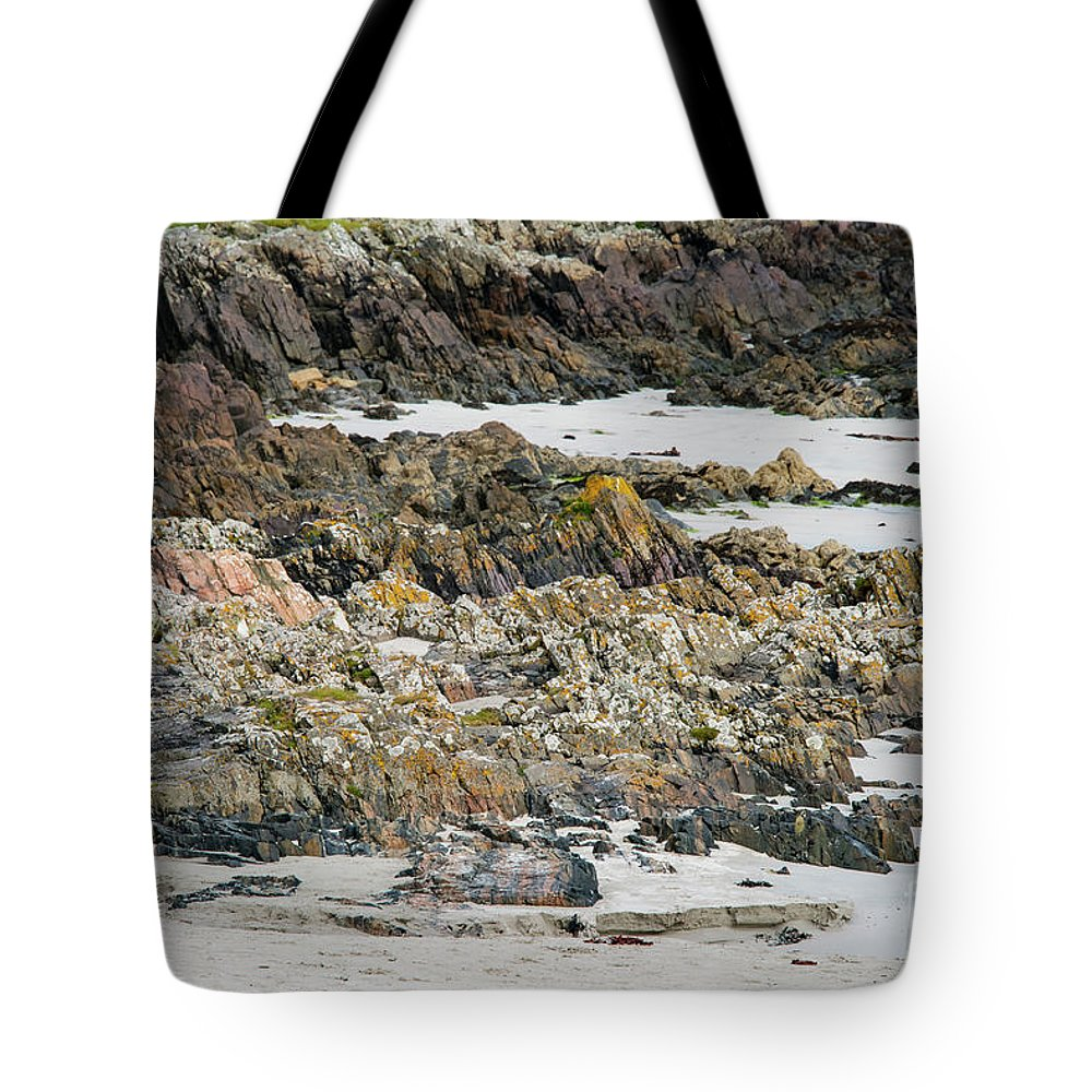 Isle Of Iona Tote Bag featuring the photograph Rocky And Sandy Beach by Bob Phillips