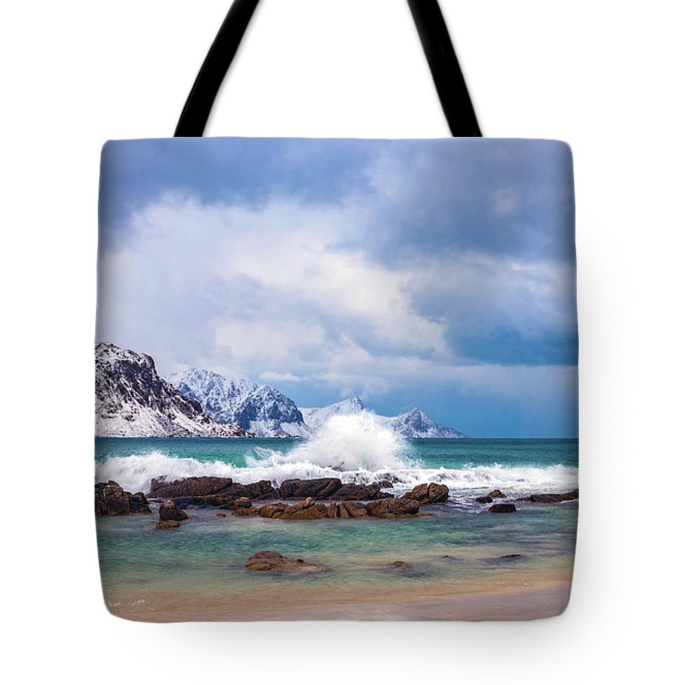 Norway Tote Bag featuring the photograph Rocky Beach by Adrian Salcu
