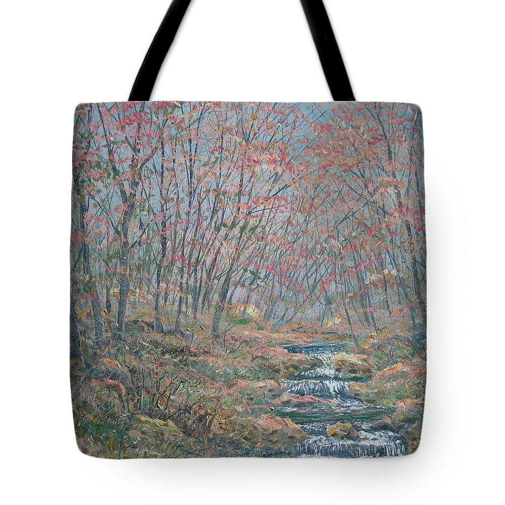 Painting Tote Bag featuring the painting Rocky Forest. by Leonard Holland