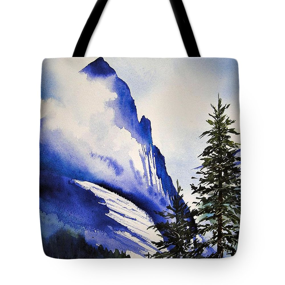 Rocky Mountains Tote Bag featuring the painting Rocky Mountain High by Karen Stark