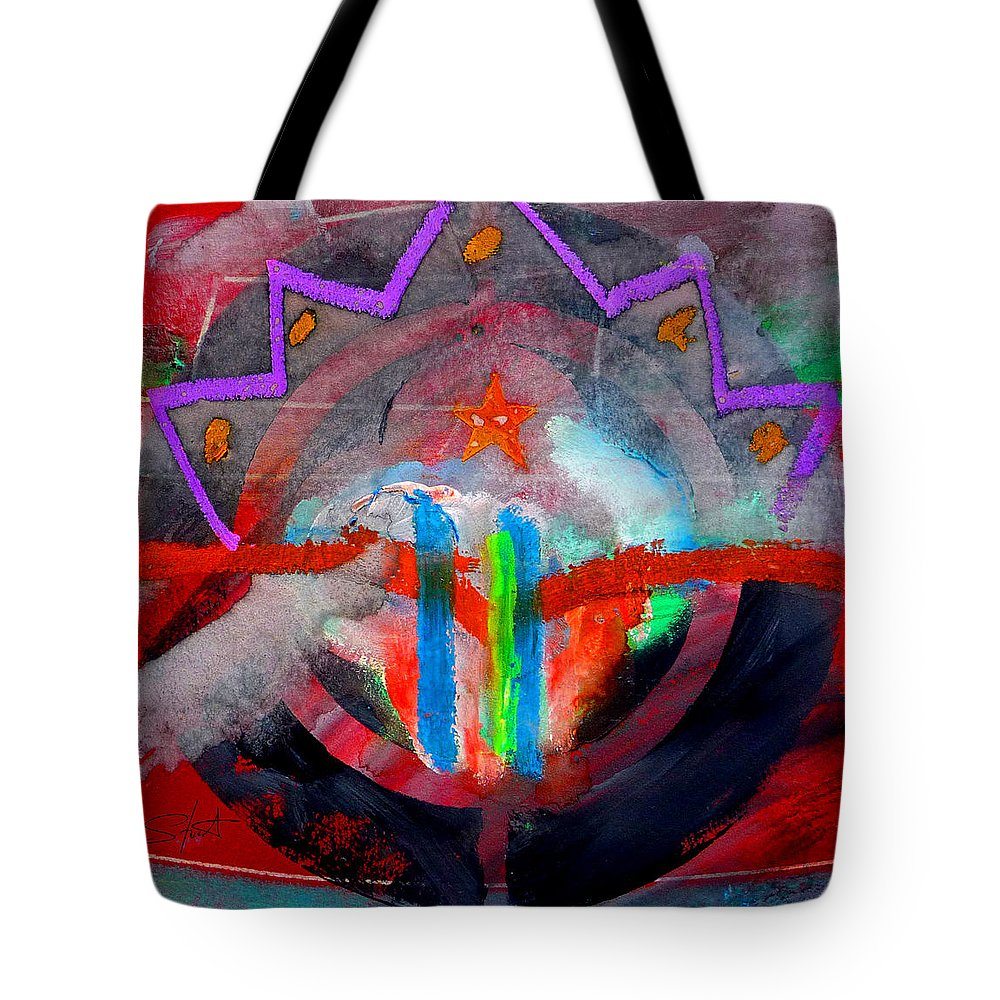 Button Tote Bag featuring the painting Rocky Mountain Pass by Charles Stuart