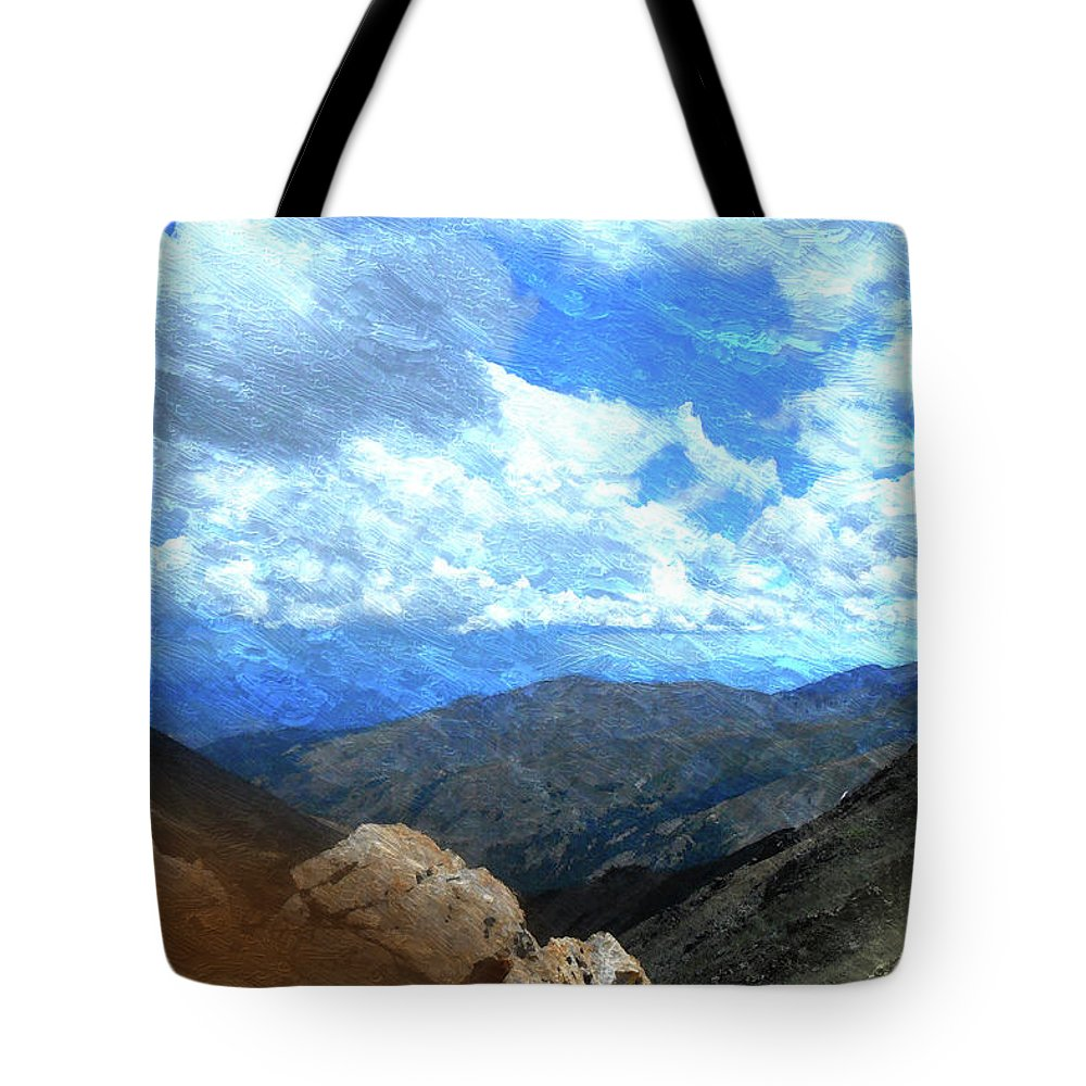 Rocky Mountains Mixed Media Tote Bags