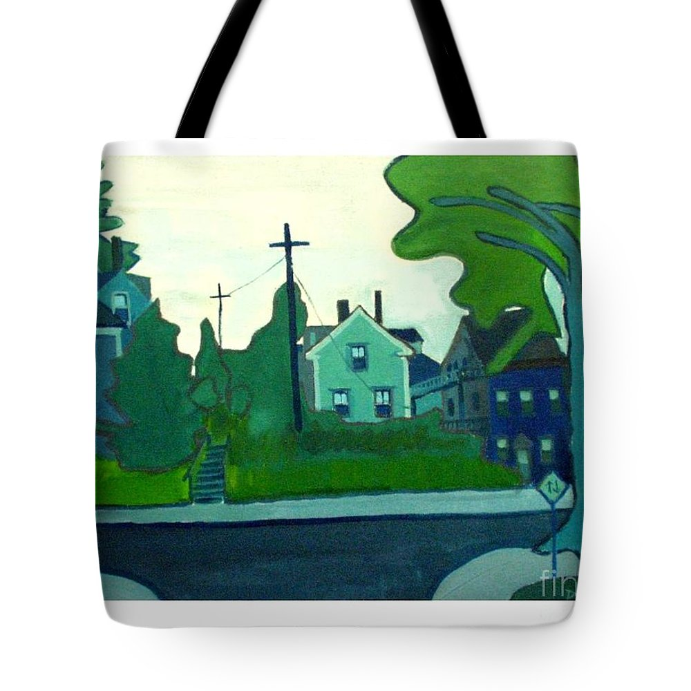 Landscape Tote Bag featuring the painting Rocky Neck Art Colony East Gloucester Ma by Debra Bretton Robinson