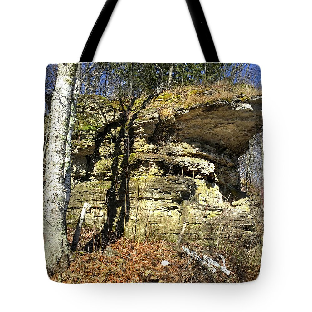 Rocky Outcrop Tote Bag featuring the photograph Rocky Outcrop by David T Wilkinson