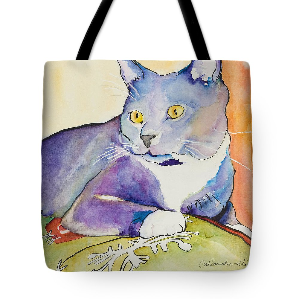 Pat Saunders-white Tote Bag featuring the painting Rocky by Pat Saunders-White