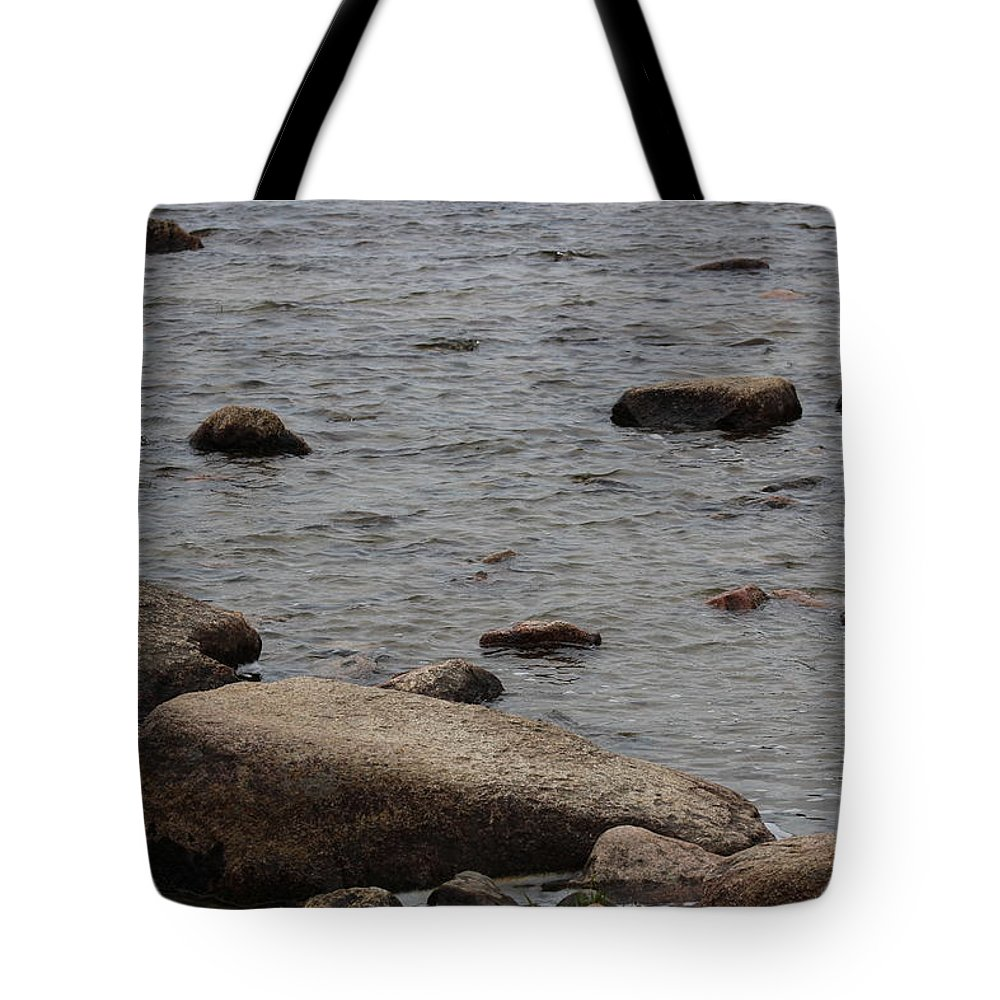 Water Tote Bag featuring the photograph Rocky Shore by Lisa Wolstencroft