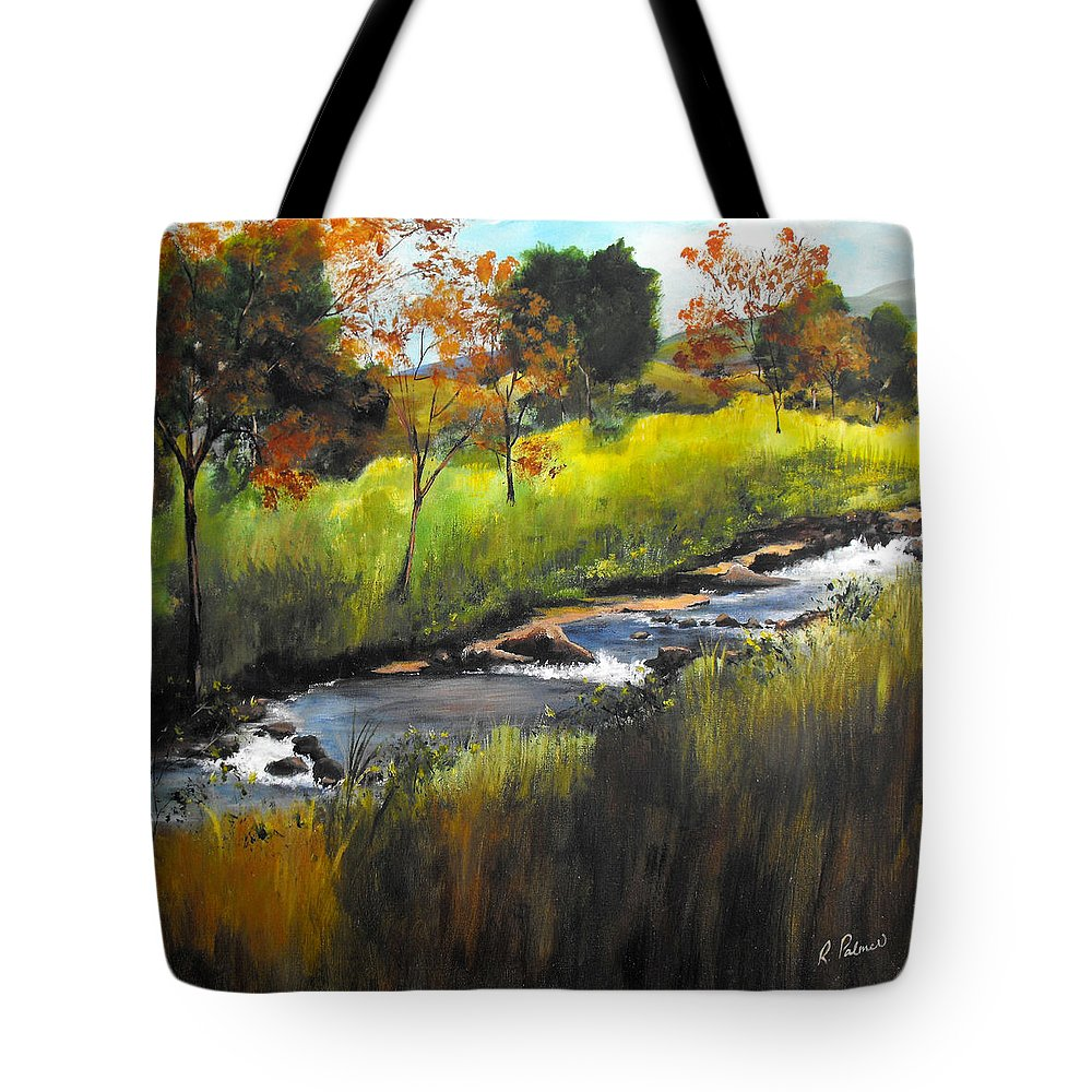 Landscape Tote Bag featuring the painting Rocky Stream by Ruth Palmer