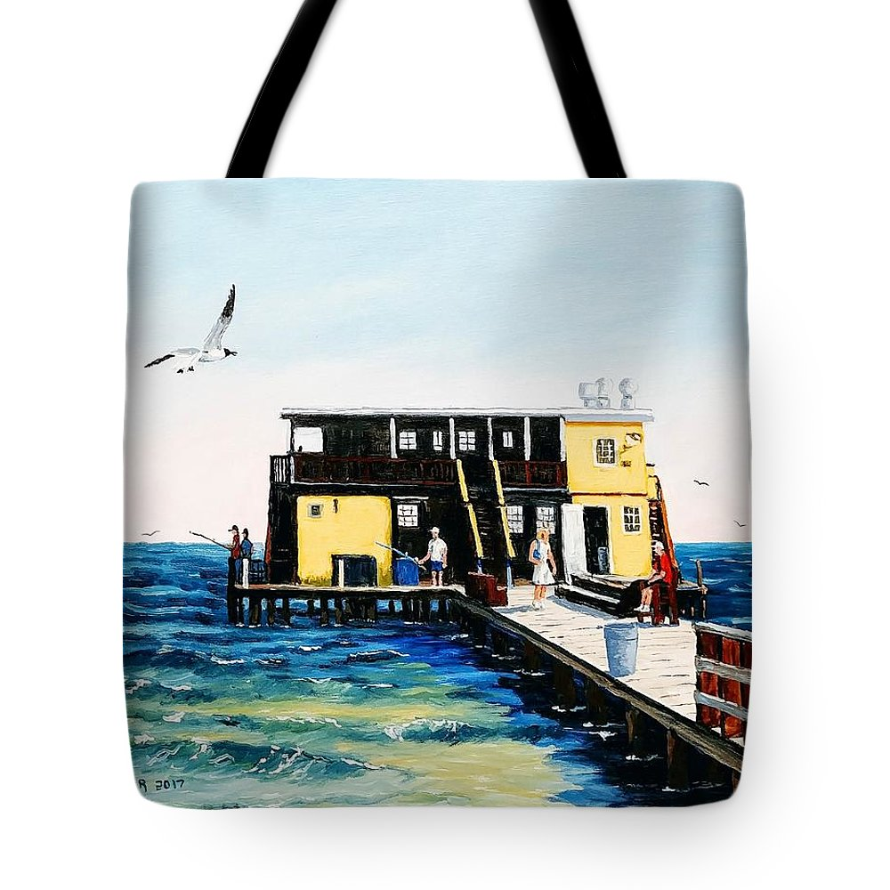 Fishing Pier Tote Bag featuring the painting Rod And Reel Fishing Pier by Jerry SPANGLER