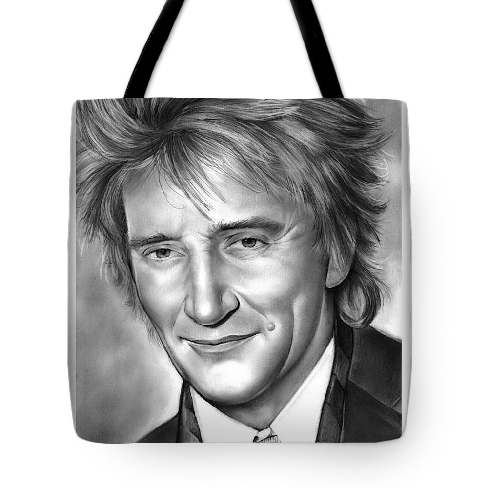 Rod Stewart Tote Bag featuring the drawing Rod Stewart by Greg Joens