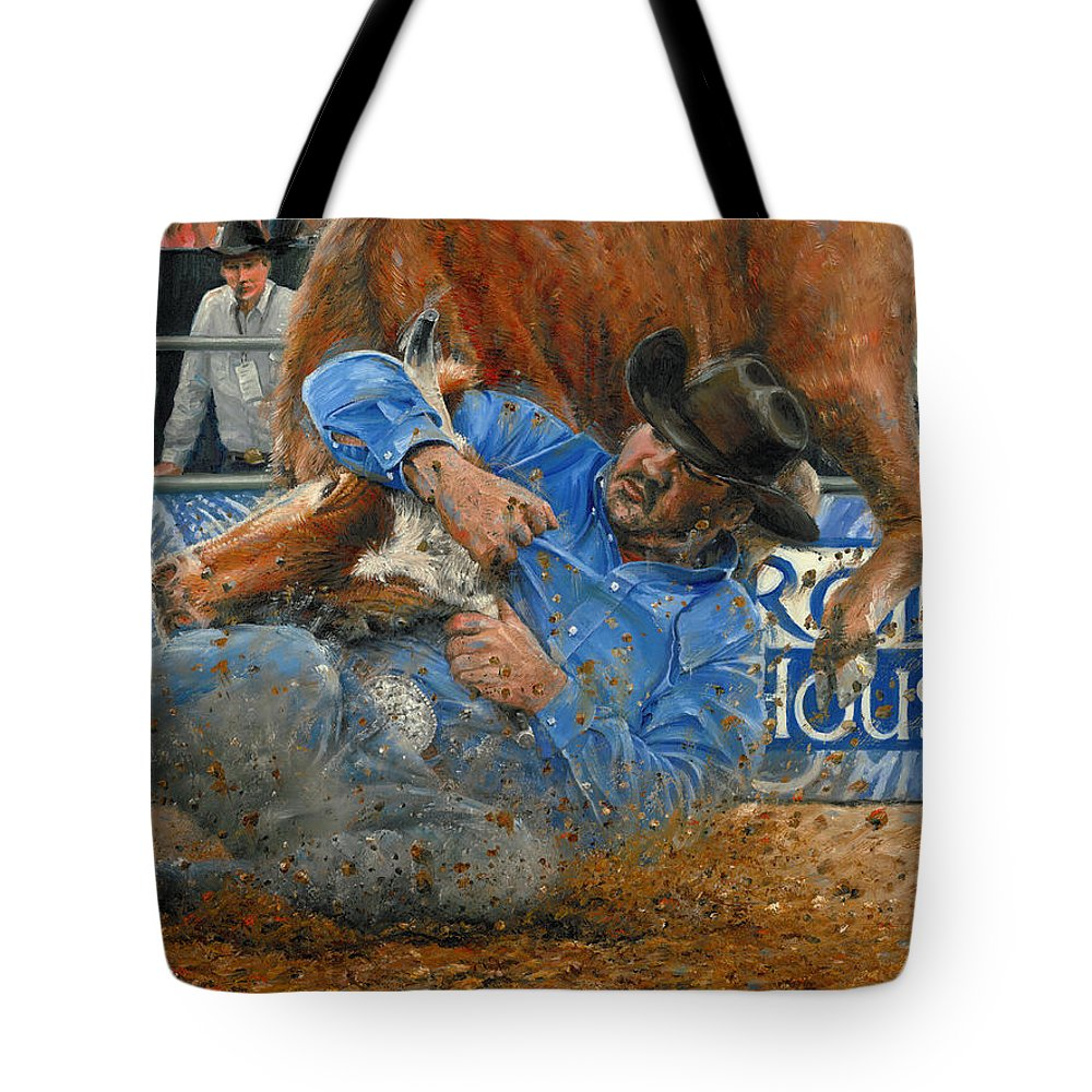 Rodeo Houston Tote Bag featuring the painting Rodeo Houston --steer Wrestling by Doug Kreuger