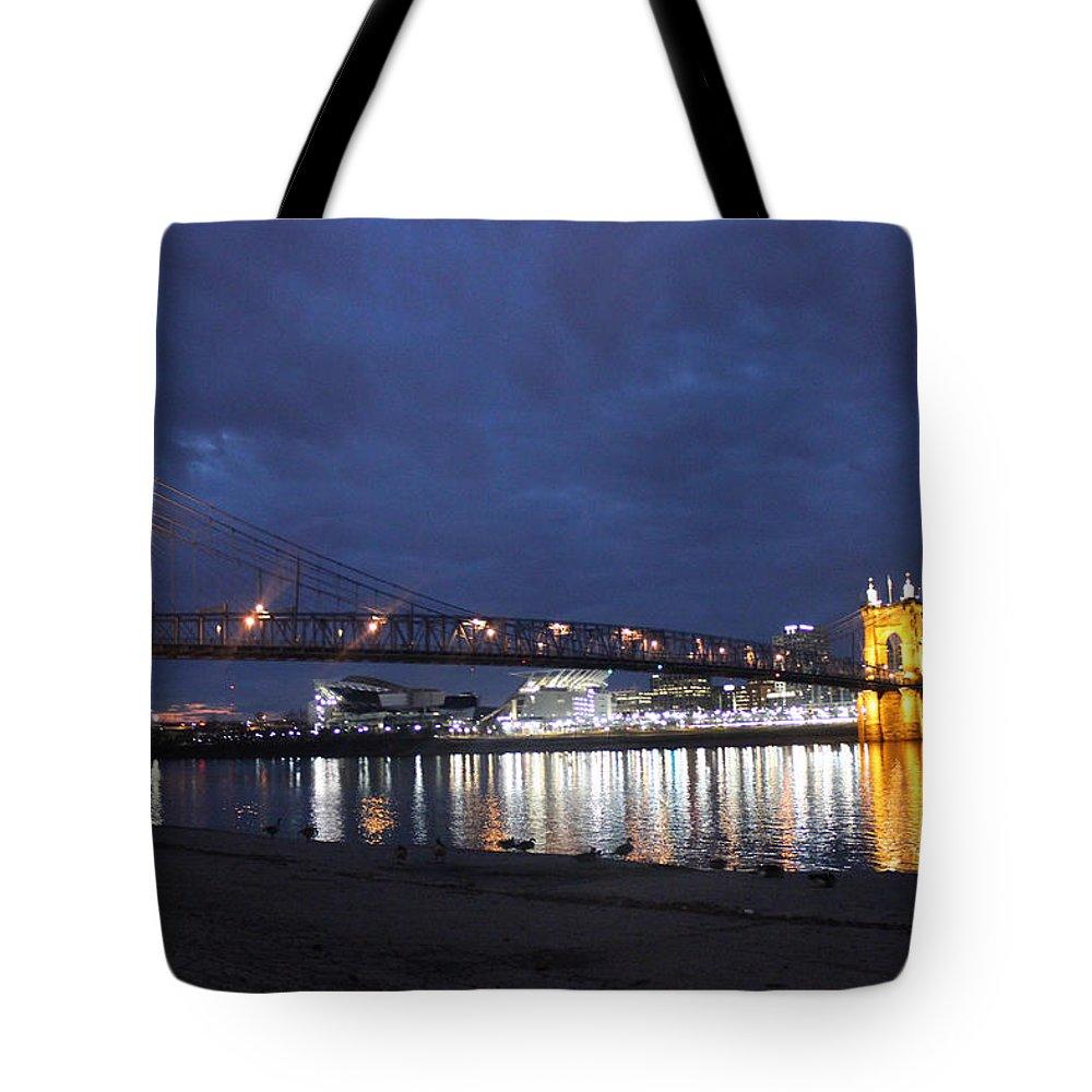 Bridge Tote Bag featuring the photograph Roebling Bridge Span by Tonya Peters