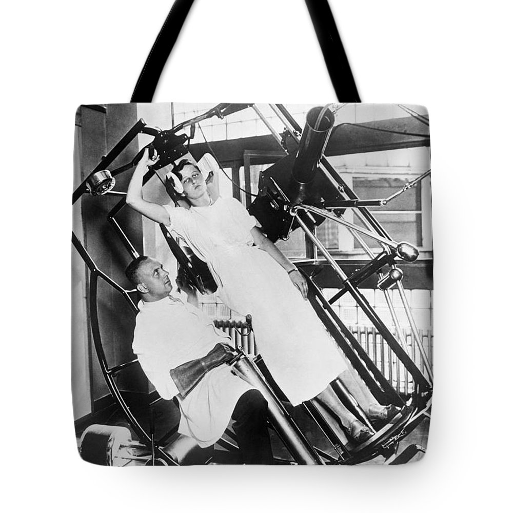 1035-312 Tote Bag featuring the photograph Roentgen X-ray Machine by Underwood Archives