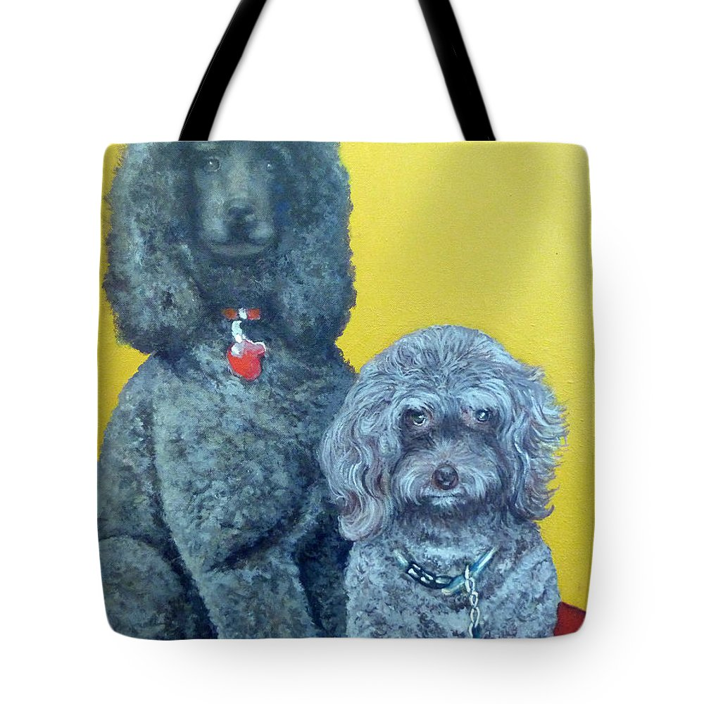 Pet Portrait Tote Bag featuring the painting Roger And Bella by Tom Roderick