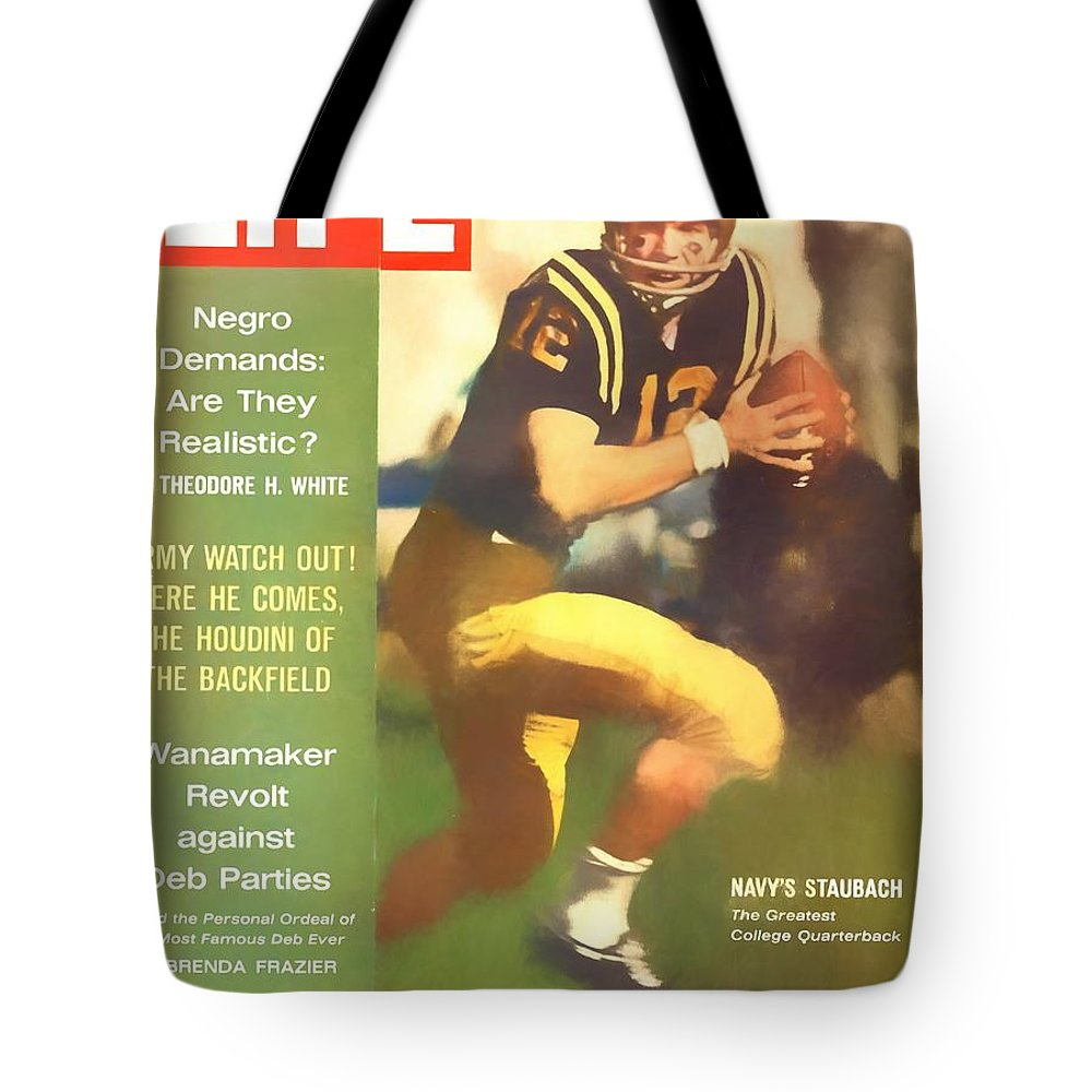 Roger Staubach Tote Bag featuring the digital art Roger Staubach 11-29-63 by Steven Parker