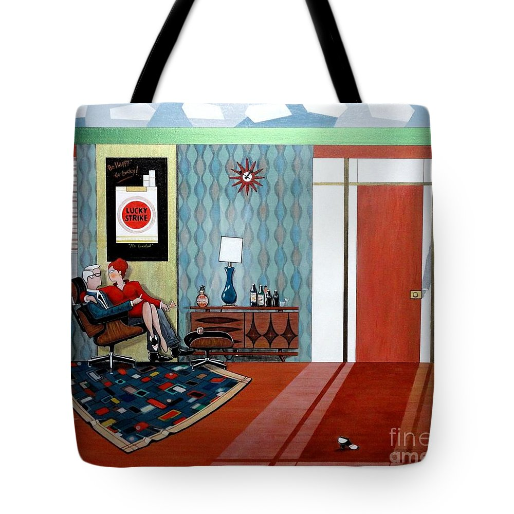 John Lyes Tote Bag featuring the painting Roger Sterling And Joan Sitting In An Eames by John Lyes