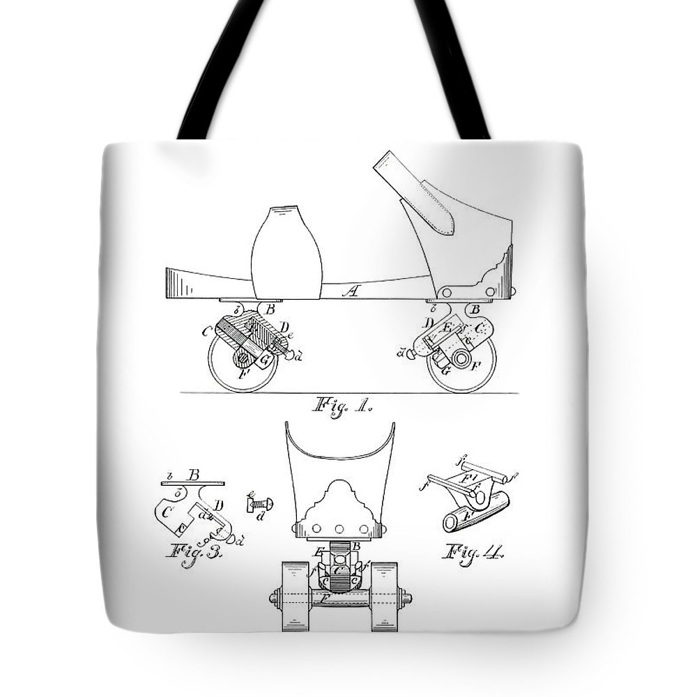 Roller Skate Patent Tote Bag featuring the photograph Roller Skate Patent - Restored Patent Drawing For The 1882 F. A. Combes Roller Skate by Jose Elias - Sofia Pereira