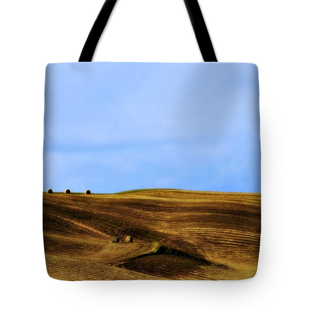 Landscape Tote Bag featuring the photograph Rolling Hills And Bales Of Hay by Marilyn Hunt