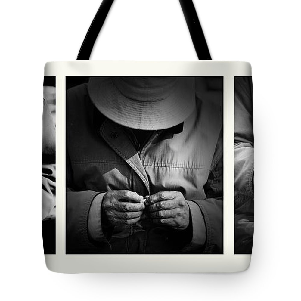 Rollup Rolling Cigarette Smoker Smoking Man Hat Monochrome Tote Bag featuring the photograph Rolling His Own by Sheila Smart Fine Art Photography