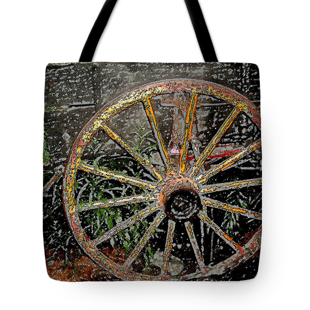 Wagon Wheel Tote Bag featuring the photograph Rolling No More by Wayne Potrafka