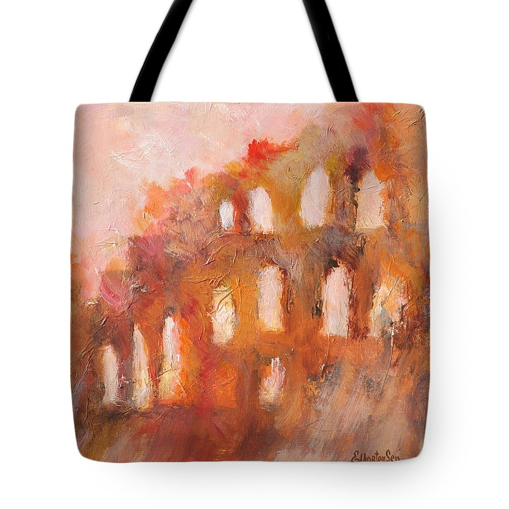Roman Tote Bag featuring the painting Roman Relicts 3 by Ekaterina Mortensen