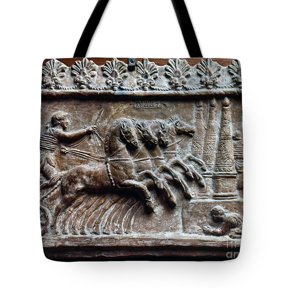 2nd Century Tote Bag featuring the photograph Roman Relief: Chariot Race by Granger