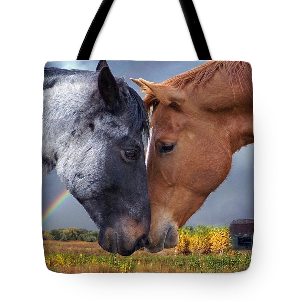 Horses Tote Bag featuring the mixed media Romance by Bill Stephens