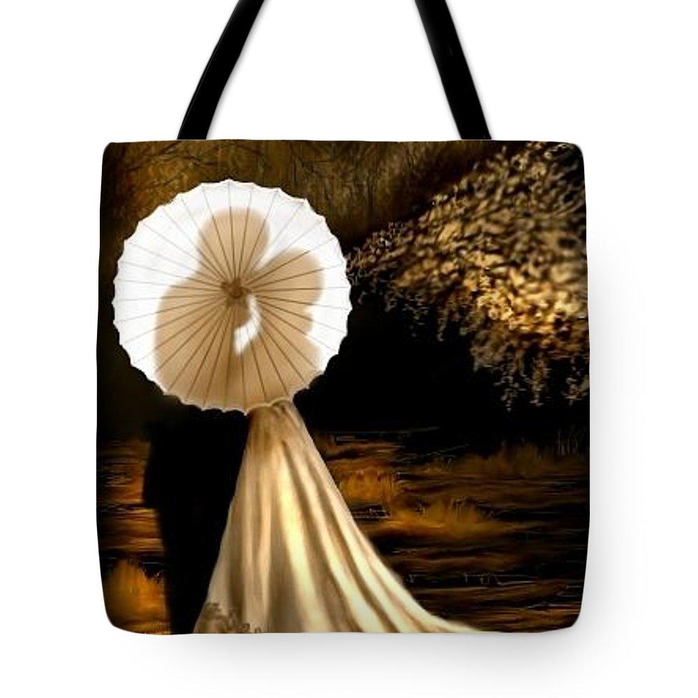 Sepia Tote Bag featuring the digital art Romance by Ellen Dawson