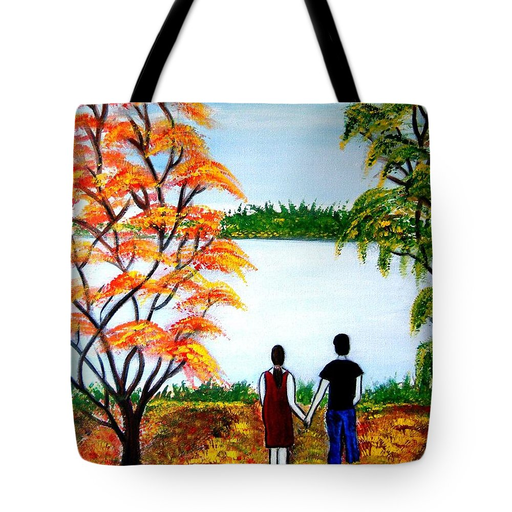 Romance Figures Autumn Orange Trees Green Pop Water Lake Love Valentine Yellow Lake Spring Bloom Tote Bag featuring the painting Romance In Autumn by Manjiri Kanvinde