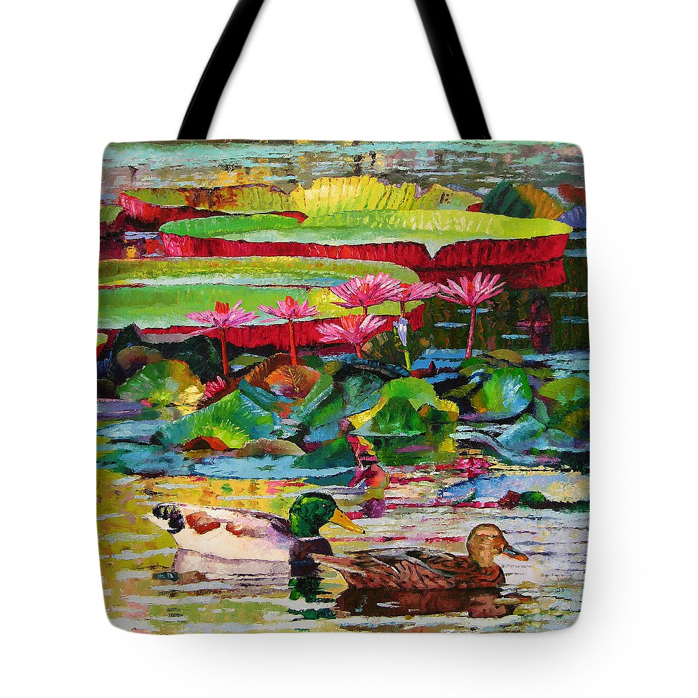 Mallard Ducks Tote Bag featuring the painting Romancing Among The Lilies by John Lautermilch