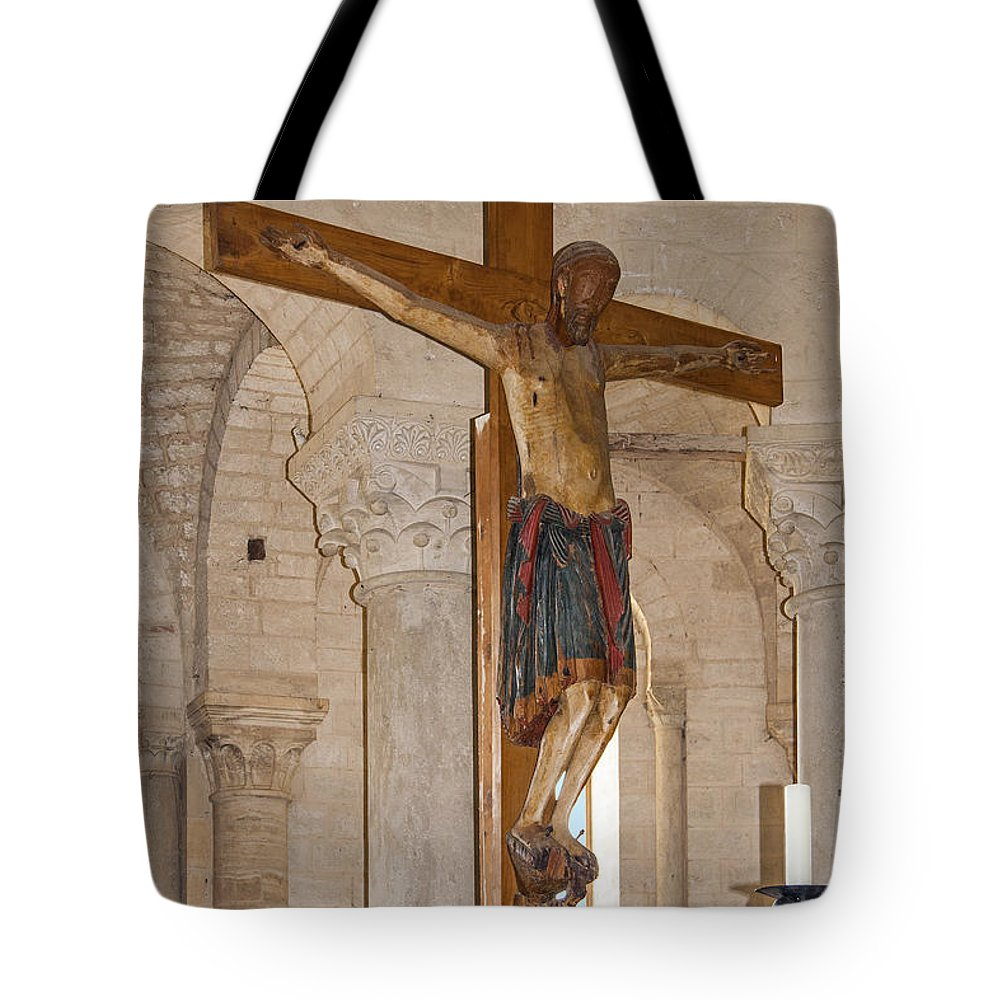Large Wood Crucifix Tote Bag featuring the photograph Romanesque Abbey Crucifix by Sally Weigand