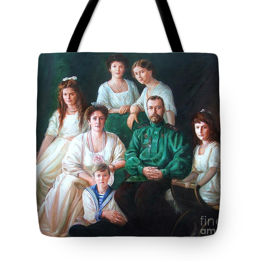 Romanov Family Tote Bag featuring the painting Romanov Family Portrait by George Alexander
