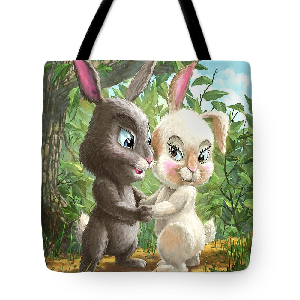 Cute Rabbits Tote Bag featuring the painting Romantic Cute Rabbits by Martin Davey
