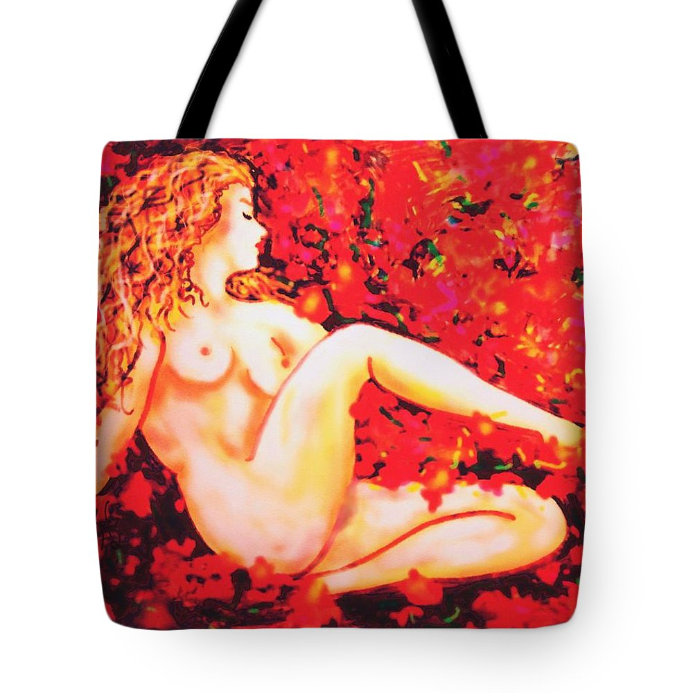 Nudes Tote Bag featuring the painting Romantic Moment by Natalie Holland