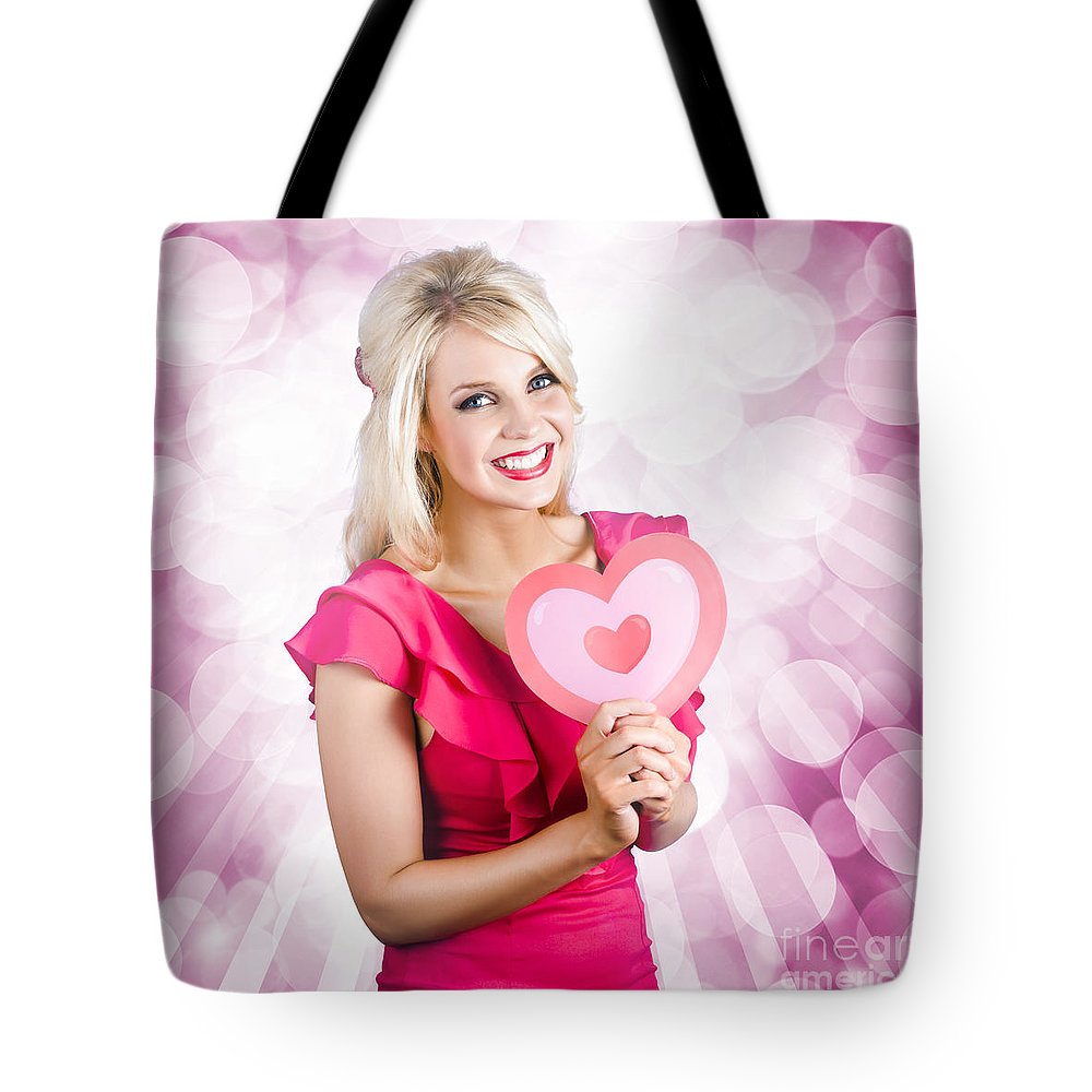 Adult Tote Bag featuring the photograph Romantic Woman With Heart Shape Valentine Card by Jorgo Photography - Wall Art Gallery