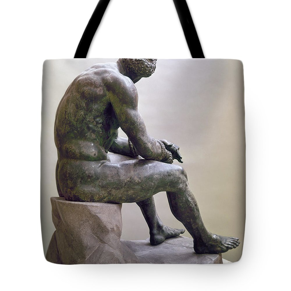 1885 Tote Bag featuring the sculpture Rome Boxer Sculpture by Granger