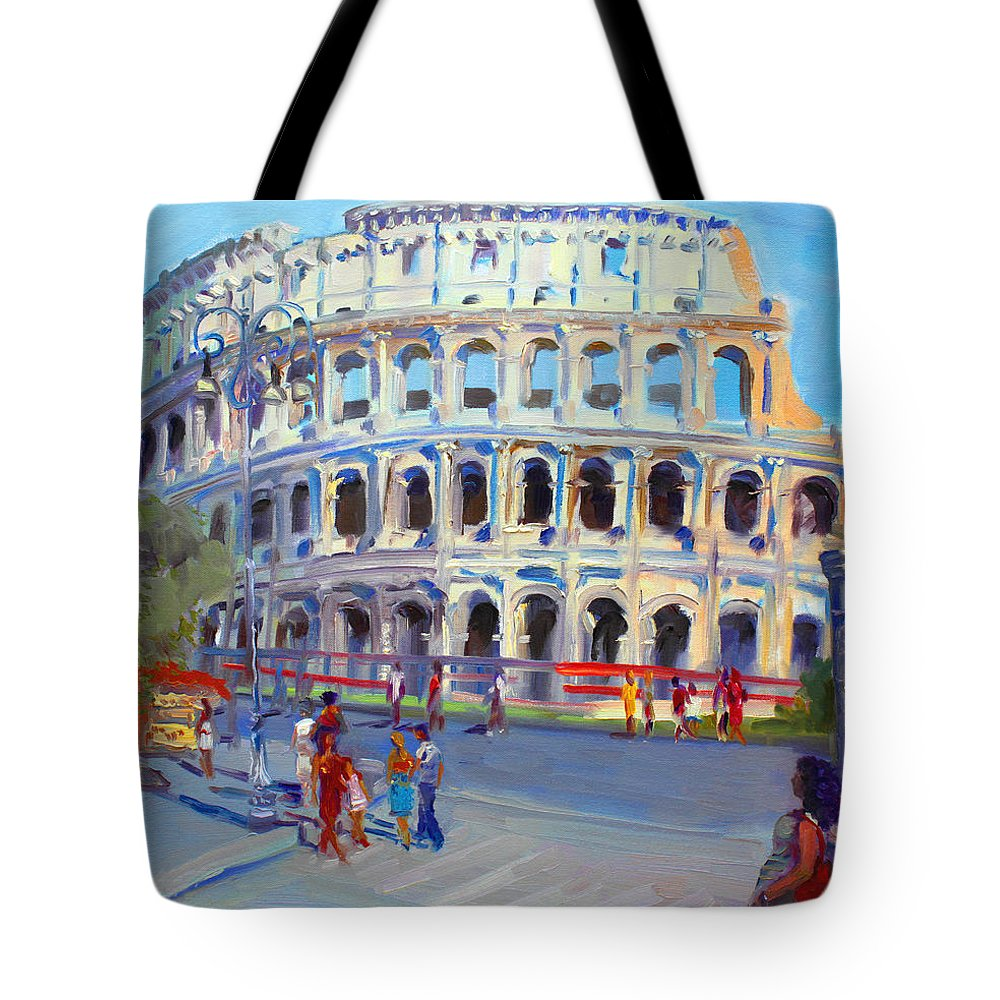 Anfiteatro Flavio Tote Bag featuring the painting Rome Colosseum by Ylli Haruni