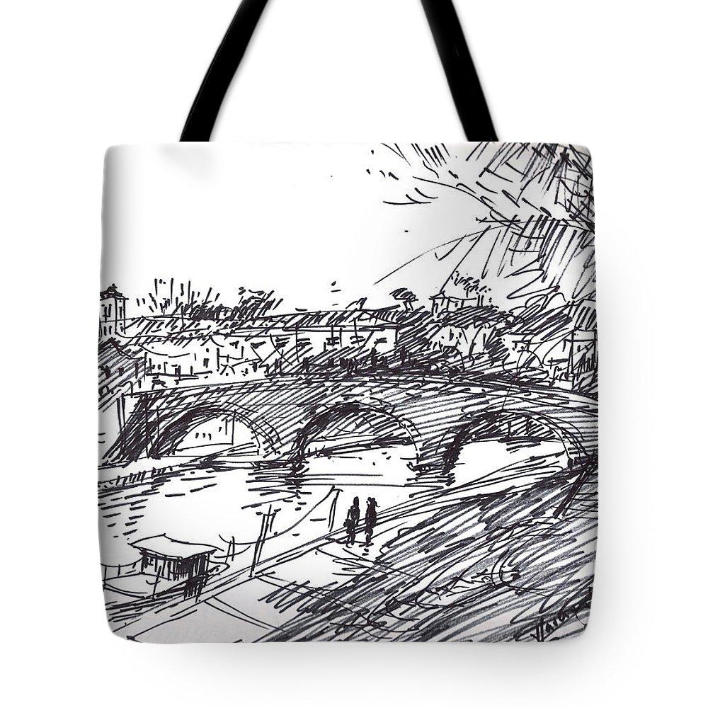 River Drawings Tote Bags
