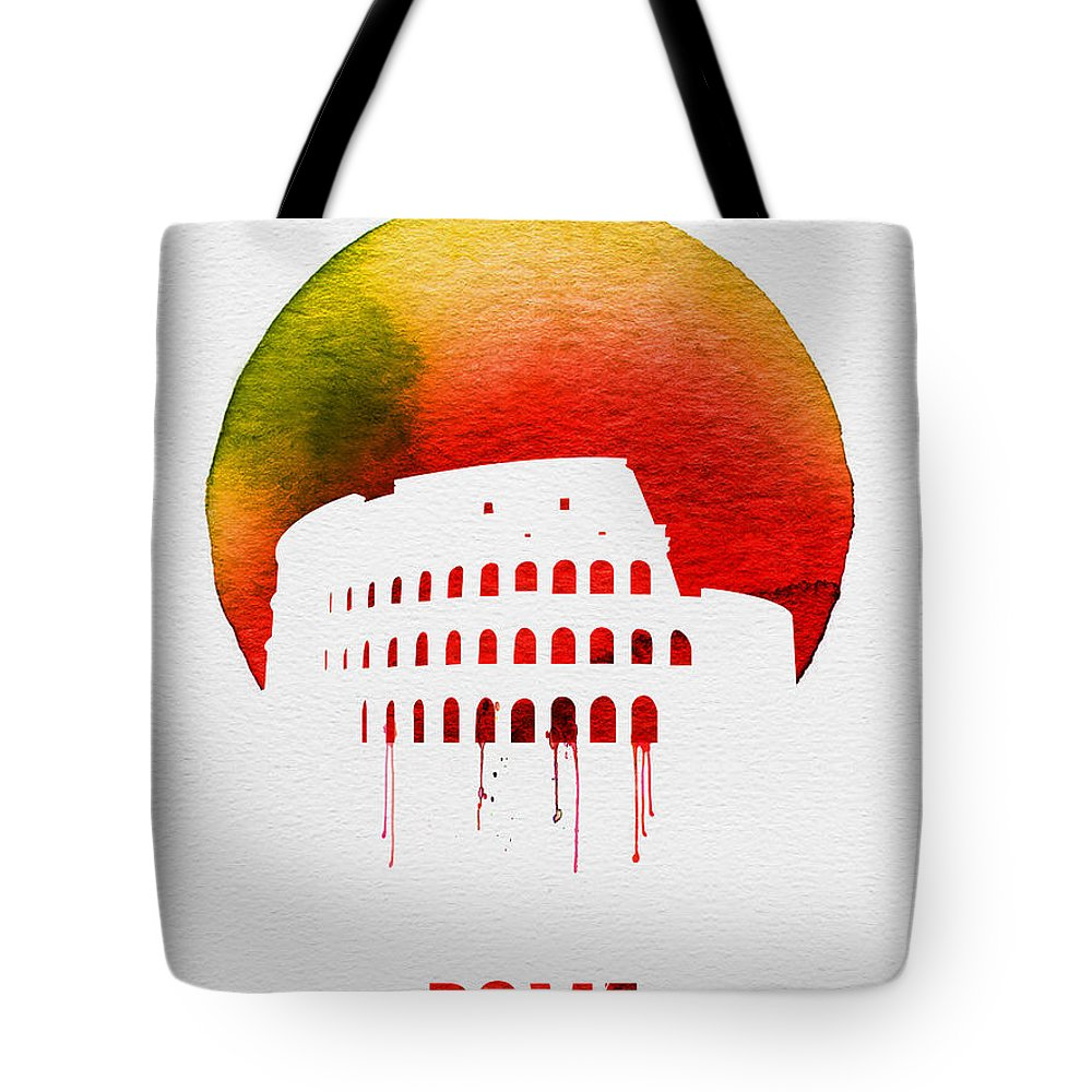 Rome Tote Bag featuring the painting Rome Landmark Red by Naxart Studio