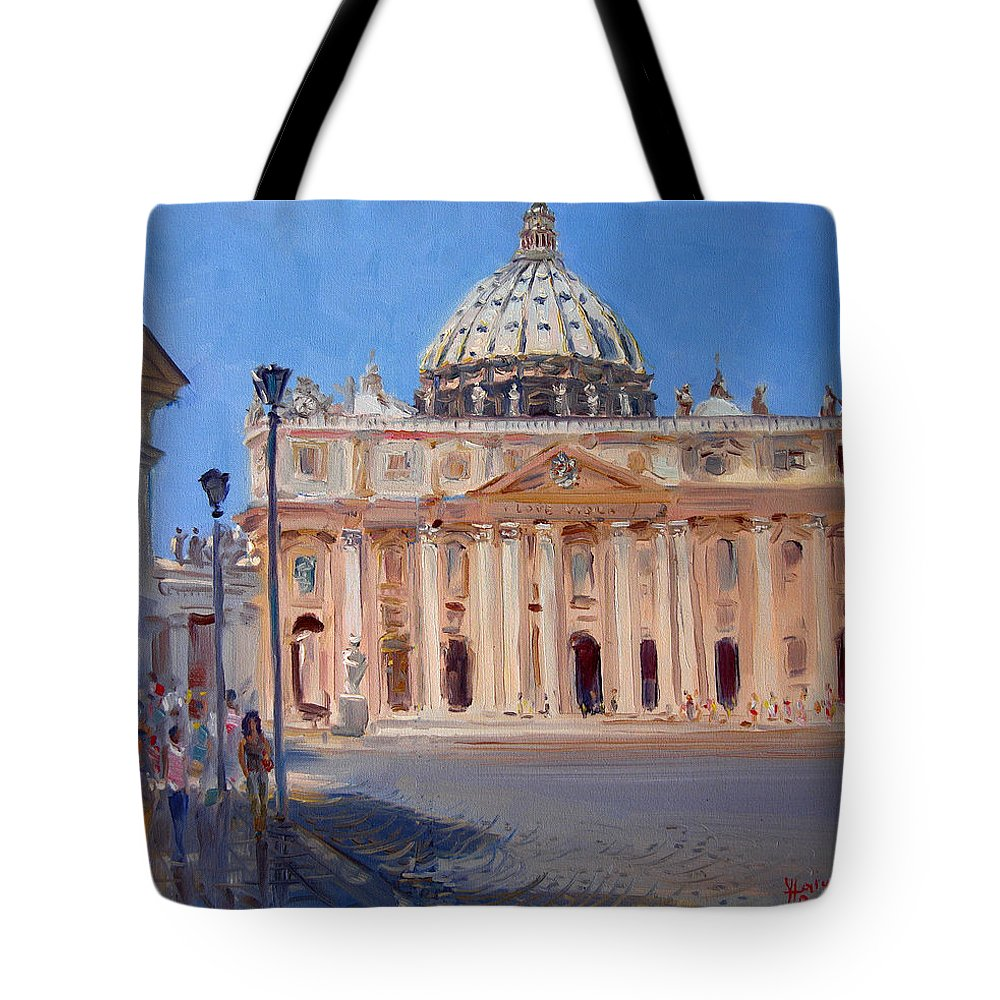 Rome Tote Bag featuring the painting Rome Piazza San Pietro by Ylli Haruni