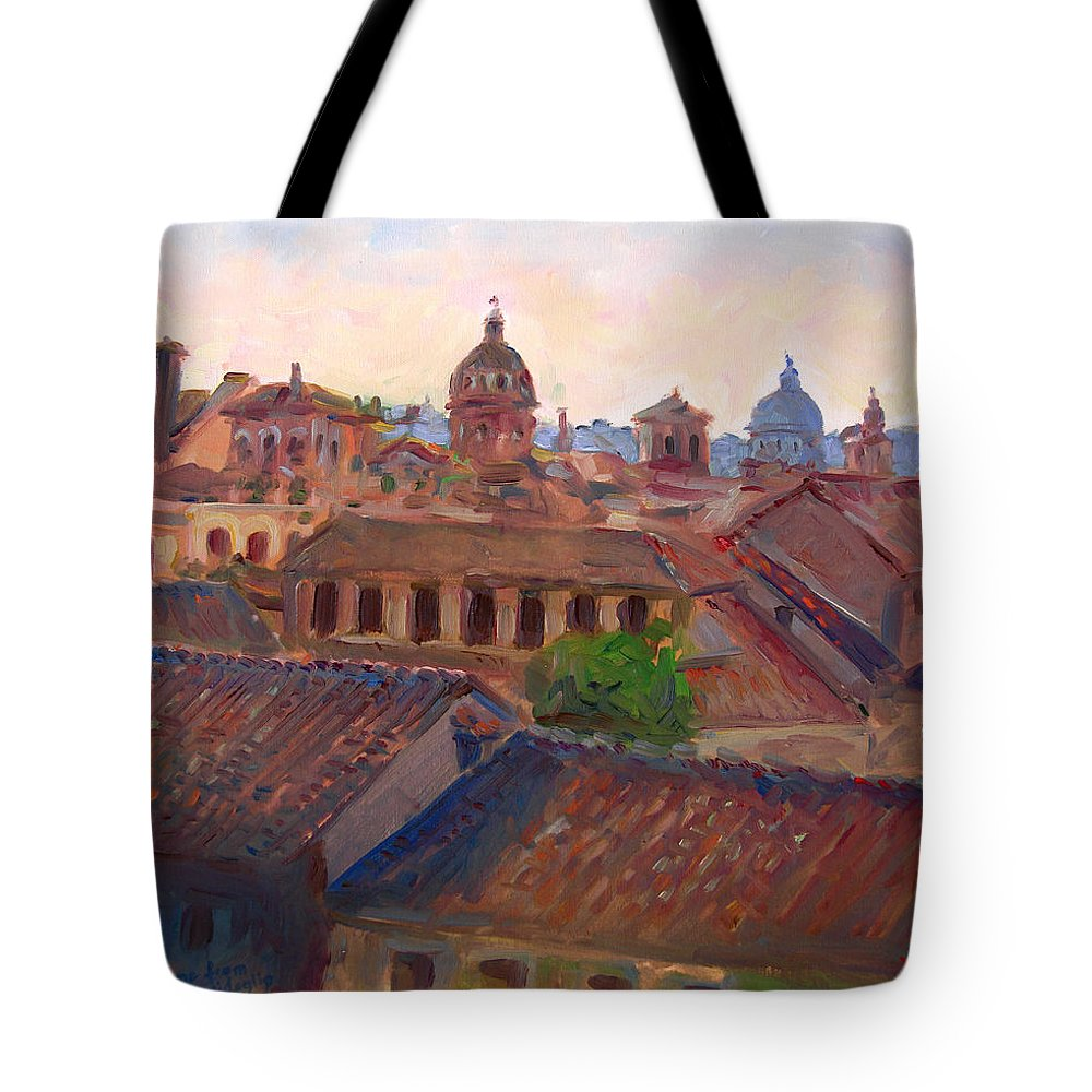 Rome Tote Bag featuring the painting Rome Seen From Campidoglio by Ylli Haruni
