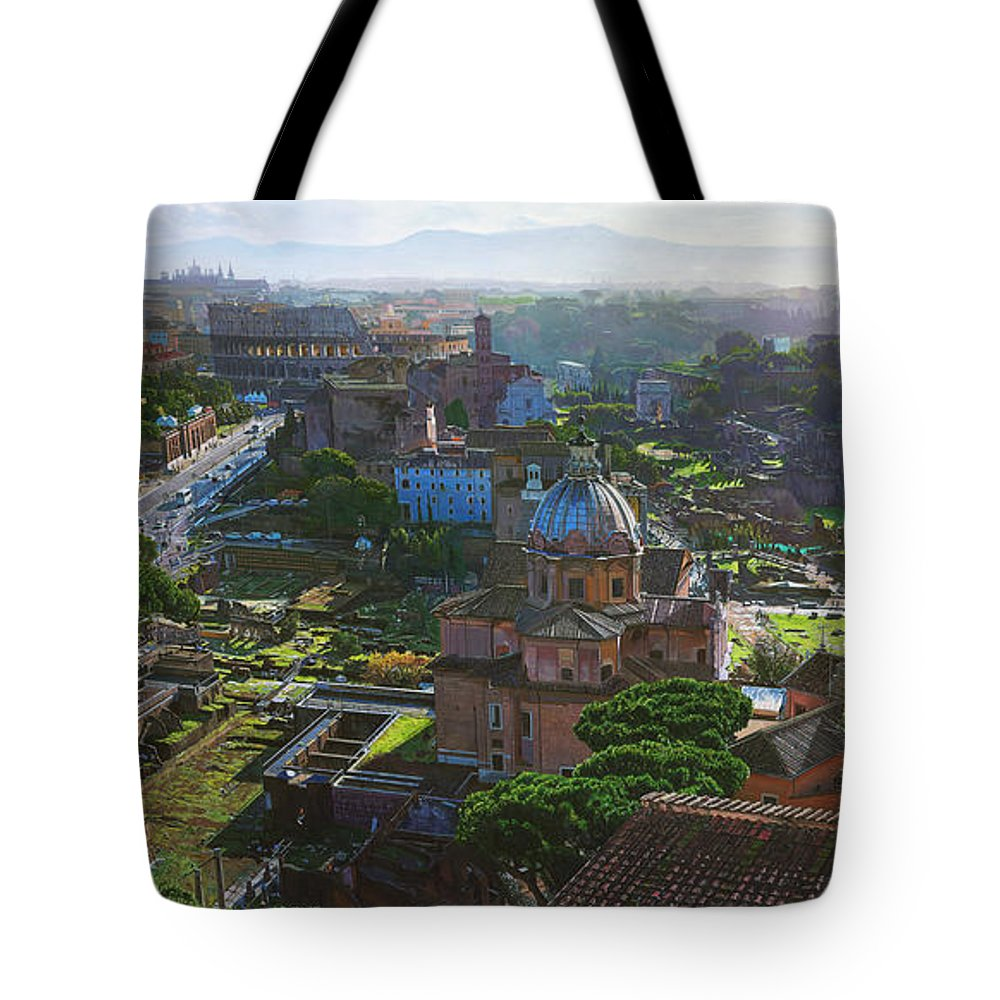 Landscape Tote Bag featuring the painting Rome by TJ Mueller