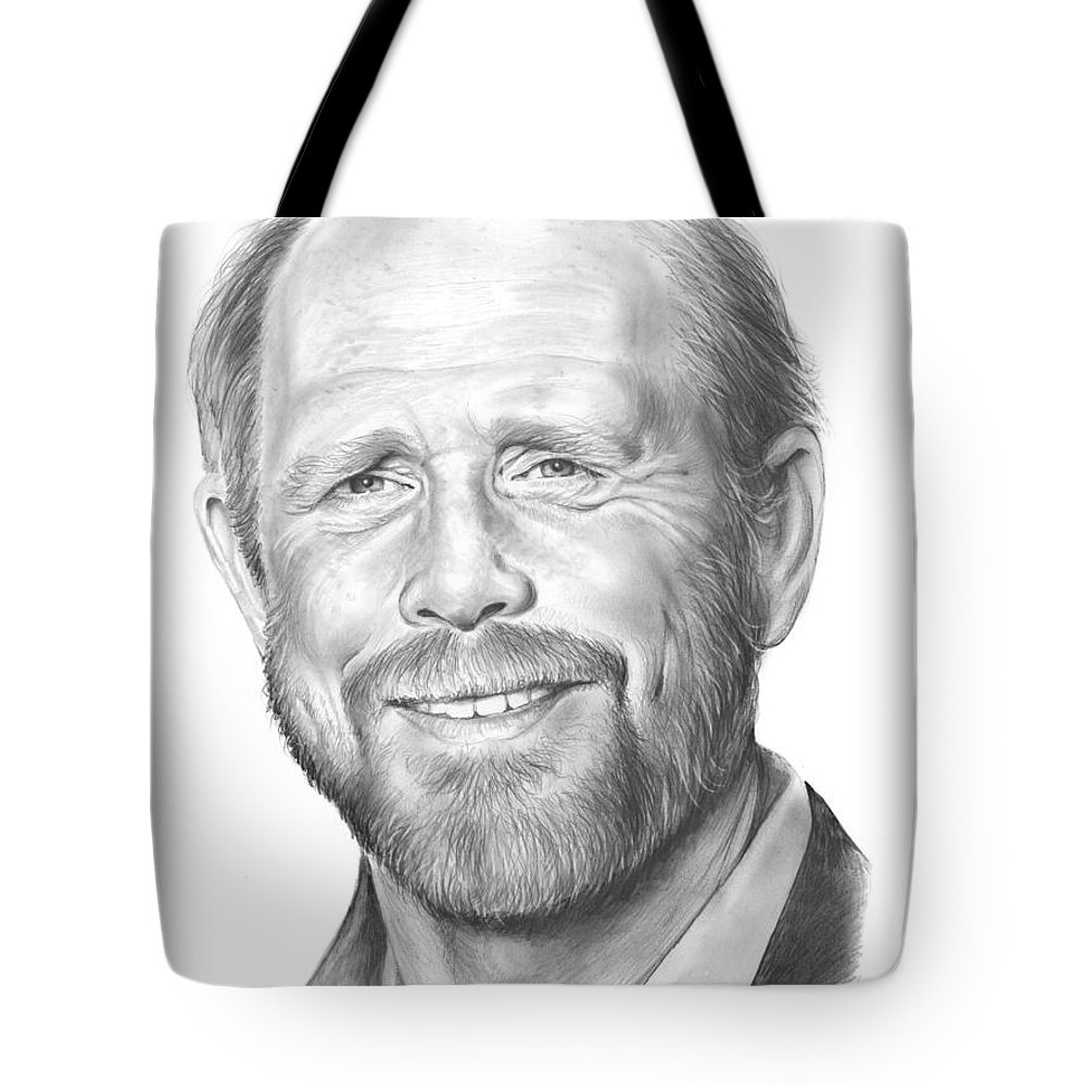 Ron Howard Tote Bag featuring the drawing Ron Howard by Greg Joens
