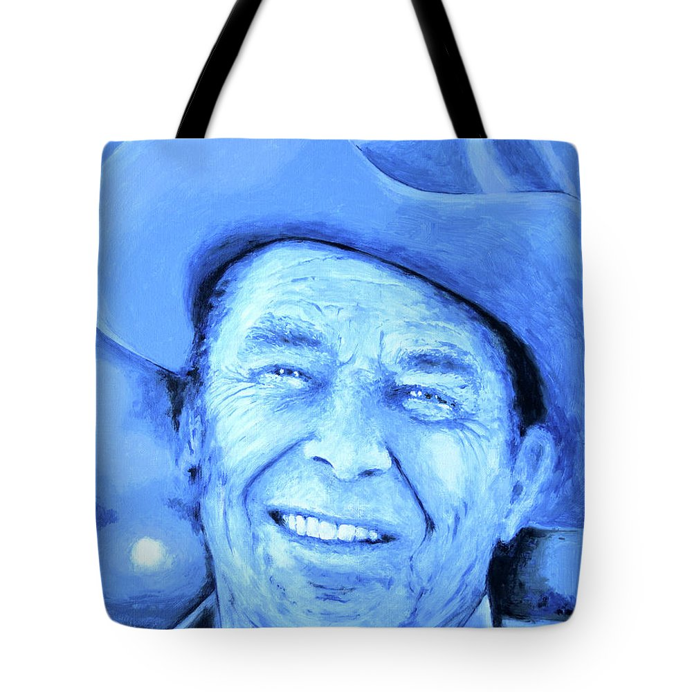 Ronald Tote Bag featuring the painting Ronald Reagan by Victor Minca