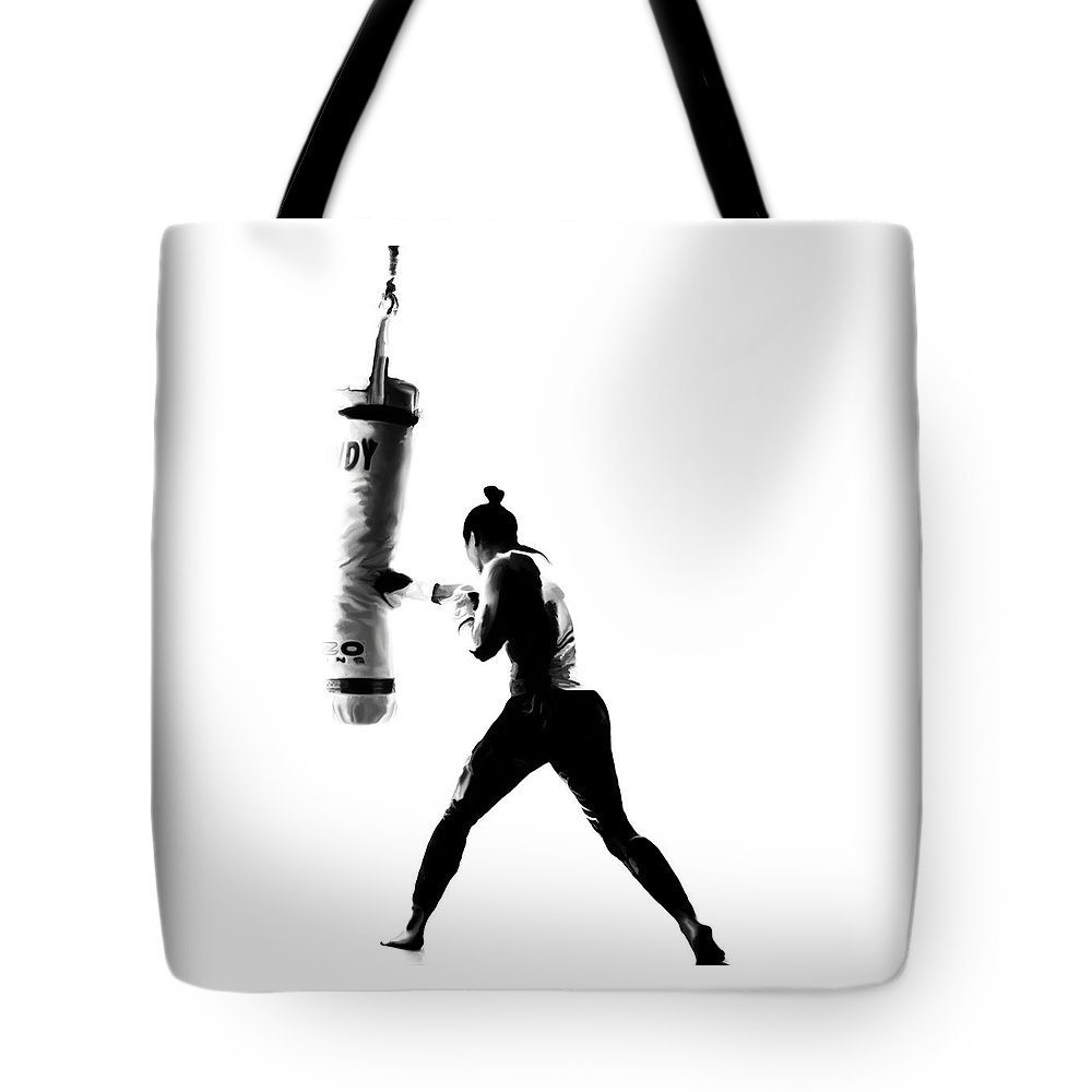 Ronda Rousey Tote Bag featuring the painting Ronda Rousey On Point by Brian Reaves