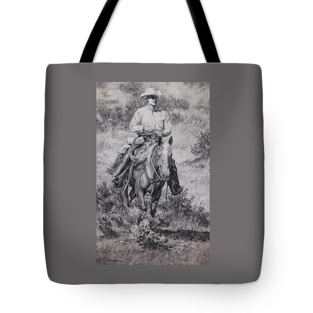 Cowboy Riding Tote Bag featuring the drawing Ronnie And Red Man by Loren Schmidt