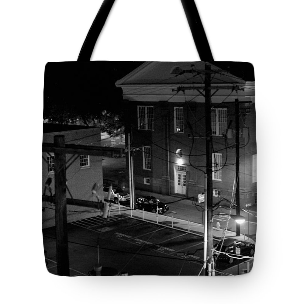 Black White Tote Bag featuring the photograph Rooftop Court by Jean Macaluso