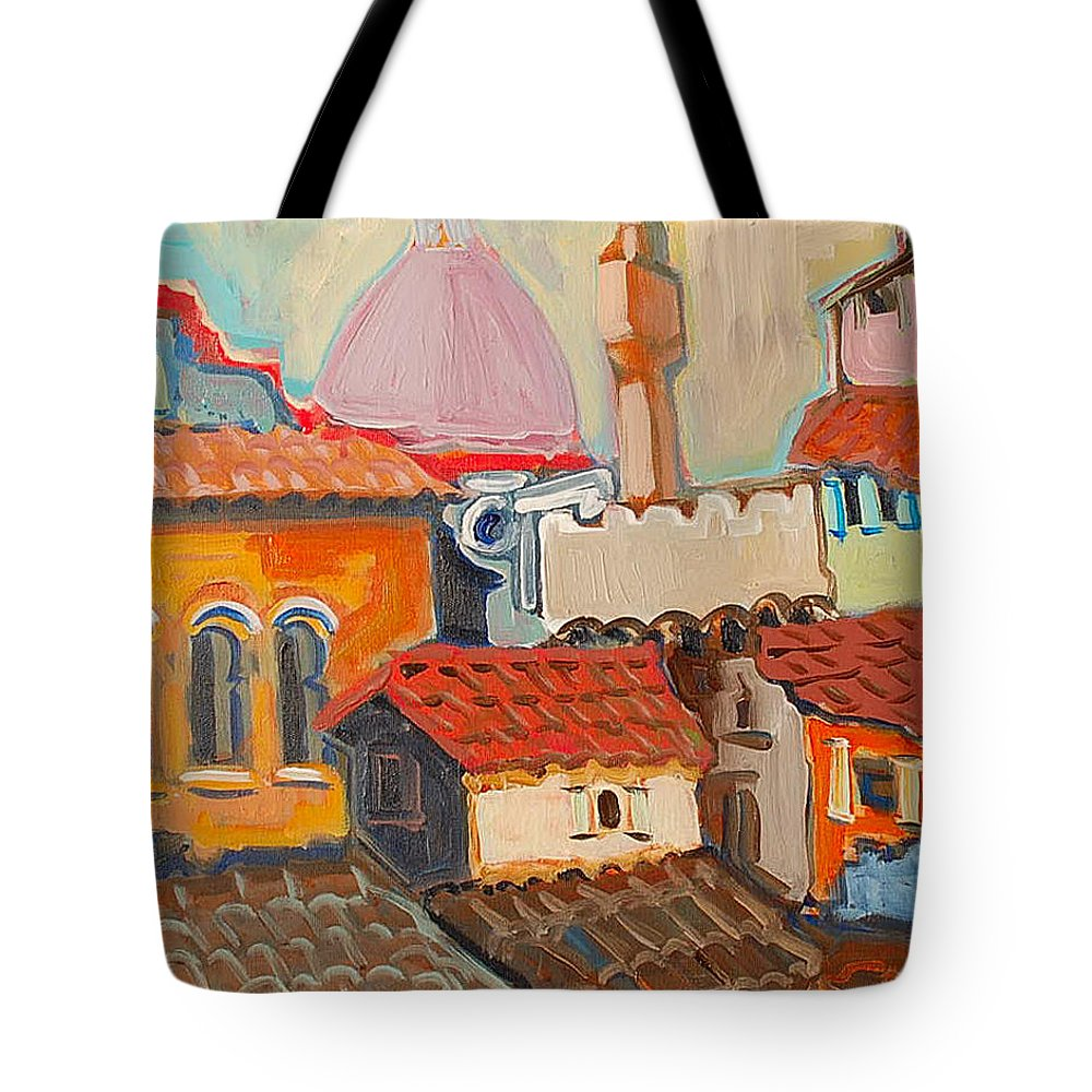Florence Tote Bag featuring the painting Rooftops by Kurt Hausmann