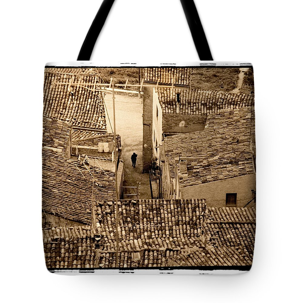 Spain Tote Bag featuring the photograph Rooftops, Spain 1976 by Michael Ziegler